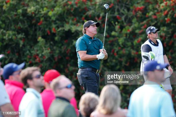 Phil Mickelson of the United States tees off on the 10th hole during the second round of THE PLAYERS Championship on March 15 2019 on the Stadium...
