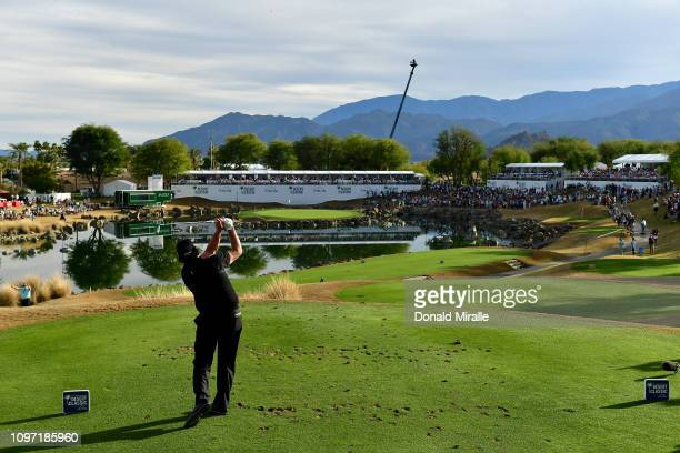 Phil Mickelson of the United States tees off on the 17th hole during the final round of the Desert Classic at the Stadium Course on January 20, 2019...