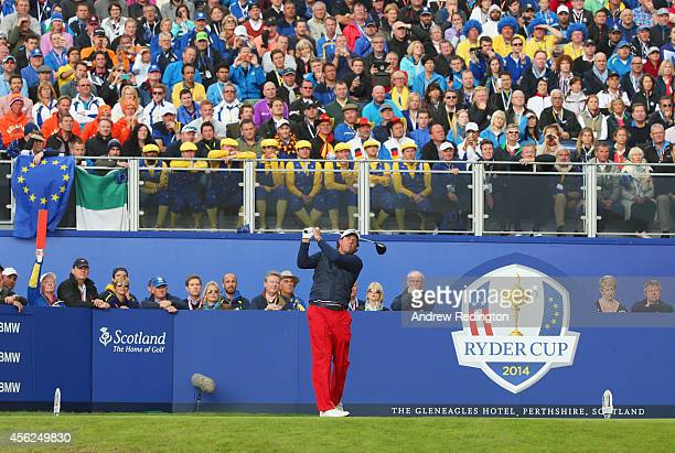 Phil Mickelson of the United States tees off on the 1st hole during the Singles Matches of the 2014 Ryder Cup on the PGA Centenary course at the...