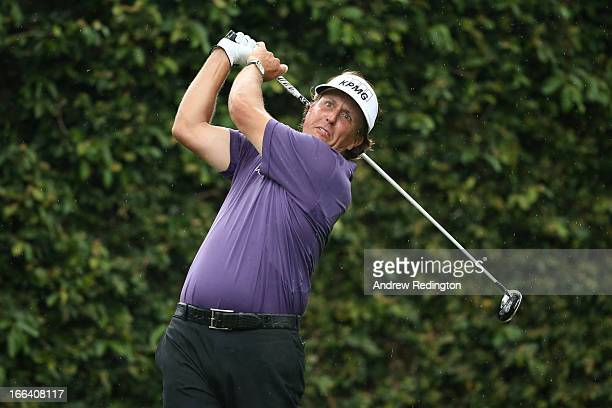 Phil Mickelson of the United States tees off on the second hole during the second round of the 2013 Masters Tournament at Augusta National Golf Club...