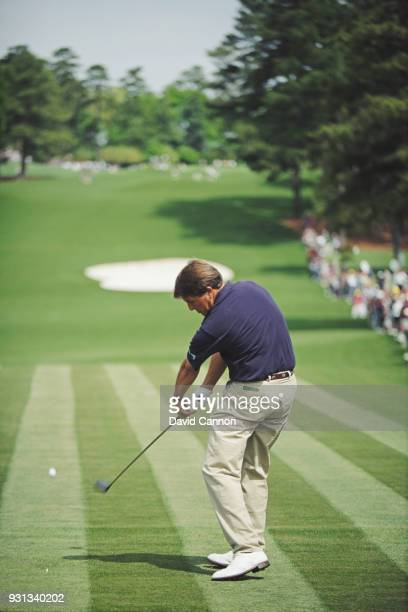 Phil Mickelson of the United States the low amateur plays a driver from the eighth tee during the 1992 Masters Tournament at Augusta National Golf...