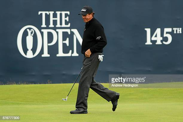 Phil Mickelson of the United States walks on the 18th green during the final round on day four of the 145th Open Championship at Royal Troon on July...