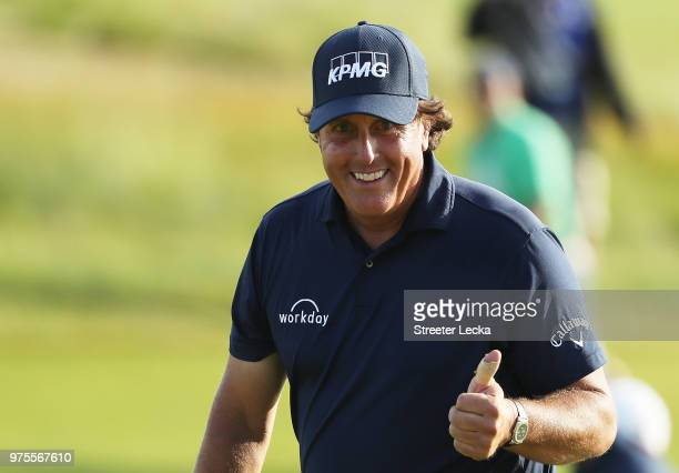 Phil Mickelson of the United States walks on the 18th hole during the second round of the 2018 US Open at Shinnecock Hills Golf Club on June 15 2018...