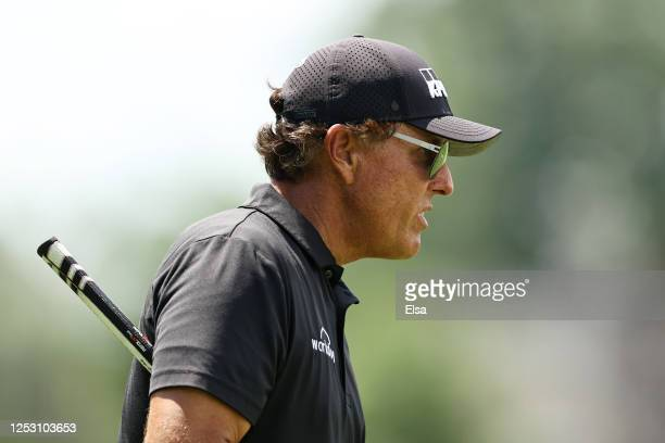 Phil Mickelson of the United States walks on the fifth hole during the final round of the Travelers Championship at TPC River Highlands on June 28...