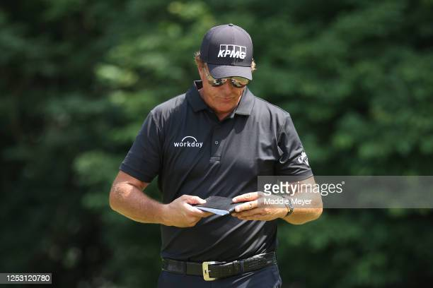 Phil Mickelson of the United States walks on the sixth green during the final round of the Travelers Championship at TPC River Highlands on June 28...