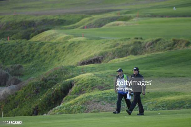 Phil Mickelson of the United States walks on the tenth hole during the final round of the ATT Pebble Beach ProAm at Pebble Beach Golf Links on...