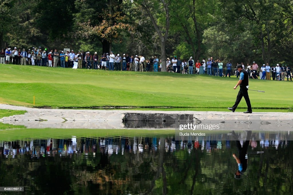 Phil Mickelson of the United States walks over the stone bridge on the sixth hole during the third round of the World Golf Championships Mexico Championship at Club De Golf Chapultepec on March 4, 2017 in Mexico City, Mexico.