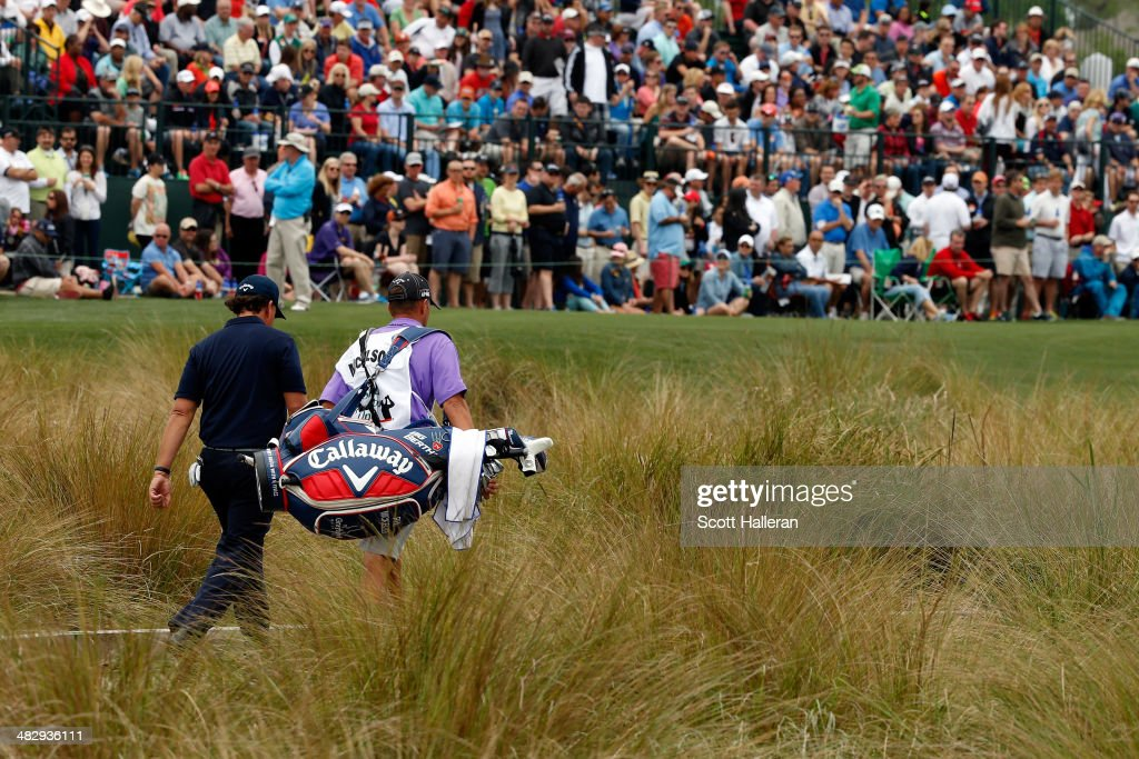 Phil Mickelson of the United States walks to the green of the sixteenth hole during round three of the Shell Houston Open at the Golf Club of Houston on April 5, 2014 in Humble, Texas.