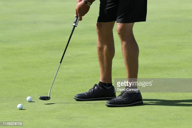 Phil Mickelson of the United States wears a pair of shorts during his final practice round as a preview for the 2019 PGA Championship on the Black...