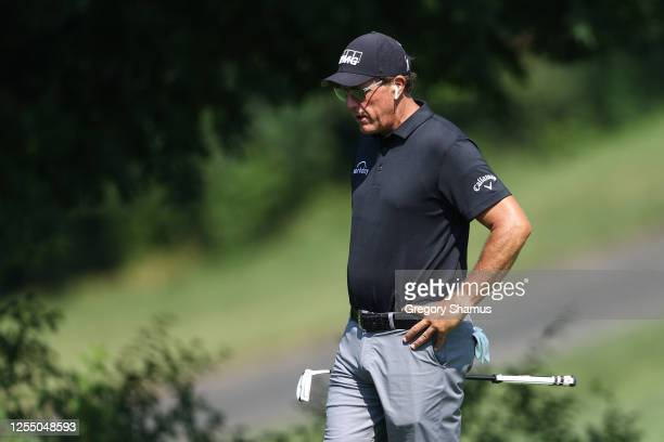 Phil Mickelson of the United States works on the putting green prior to a practice round for the Workday Charity Open at Muirfield Village Golf Club...