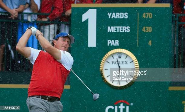 Phil Mickelson of the U.S. Team hits his tee shot on the first hole during the Day Four Singles Matches at the Muirfield Village Golf Club on October...