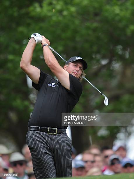 Phil Mickelson of the US tees off the fourth hole during the 1st round of the Masters golf tournament at Augusta National Golf Club on April 8 2010...