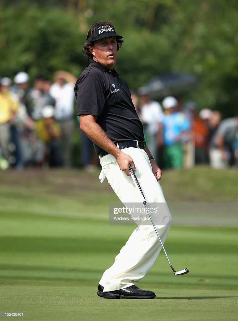 Phil Mickelson of the USA in action during the final round of the WGC HSBC Champions at the Mission Hills Resort on November 4, 2012 in Shenzhen, China.