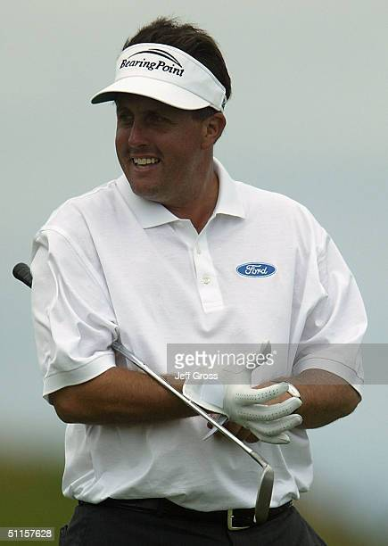 Phil Mickelson of the USA pauses on the 15th green during the practice round of the US PGA Championship at the Whistling Straits Golf Course August...
