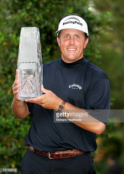 Phil Mickelson of the USA poses with the trophy after winning THE PLAYERS on The Stadium Course at the TPC Sawgrass on May 13 2007 in Ponte Vedra...