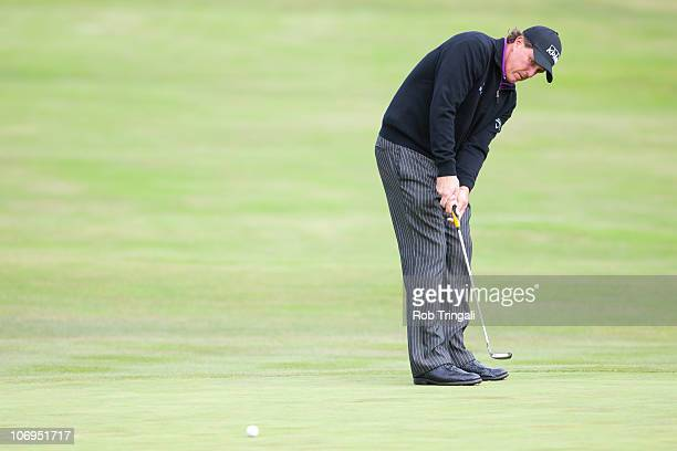 Phil Mickelson of the USA putts during the second round of the 110th U.S. Open at Pebble Beach Golf Links on June 18, 2010 in Pebble Beach,...