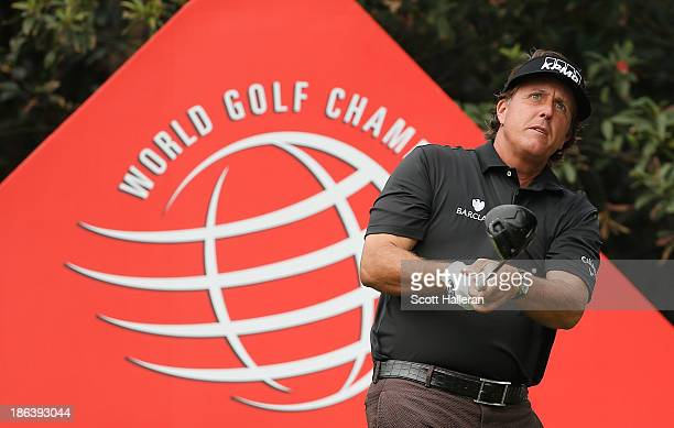 Phil Mickelson of the USA watches his tee shot on the 11th hole during the first round of the WGC-HSBC Champions at the Sheshan International Golf...