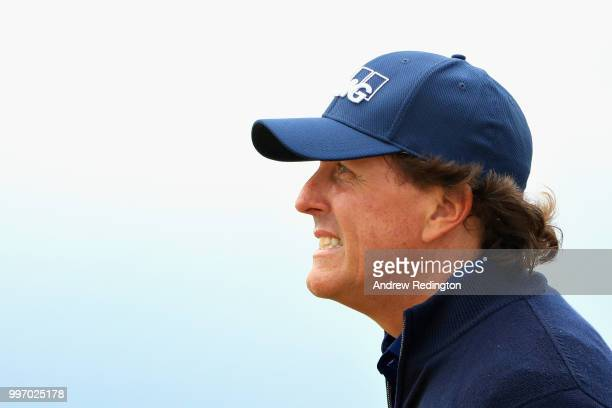 Phil Mickelson of USA looks on on hole sixteen during day one of the Aberdeen Standard Investments Scottish Open at Gullane Golf Course on July 12...