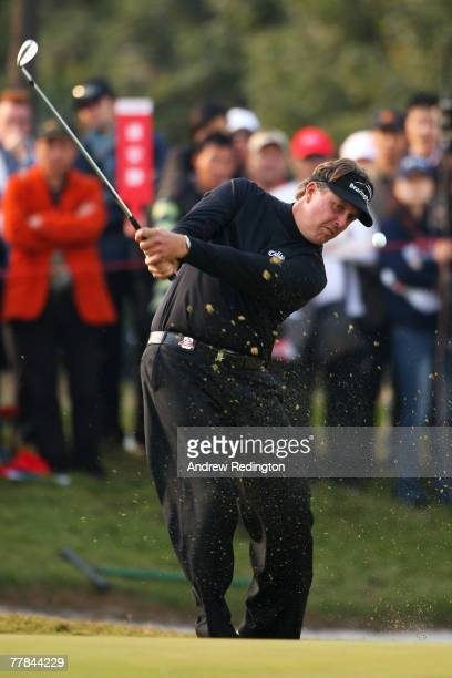Phil Mickelson of USA plays a shot during the final day of the HSBC Champions at the Sheshan Golf Club on November 11, 2007 in Shanghai, China.