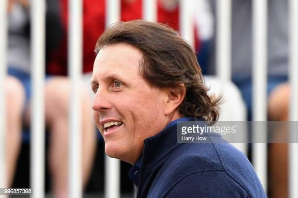 Phil Mickelson of USA smiles on the first tee during day one of the Aberdeen Standard Investments Scottish Open at Gullane Golf Course on July 12...