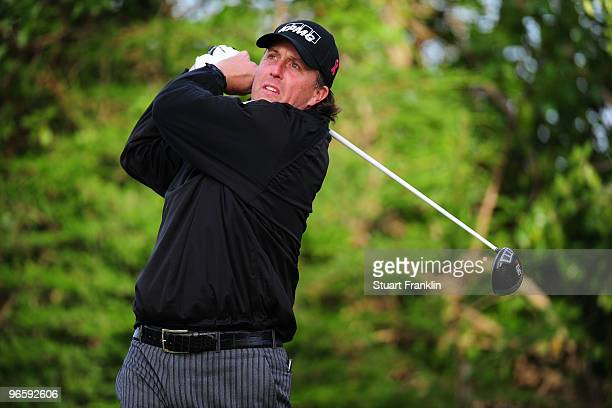 Phil Mickelson plays a shot during round one of the ATT Pebble Beach National ProAm at Monterey Peninsula Country Club Shore Course on February 11...