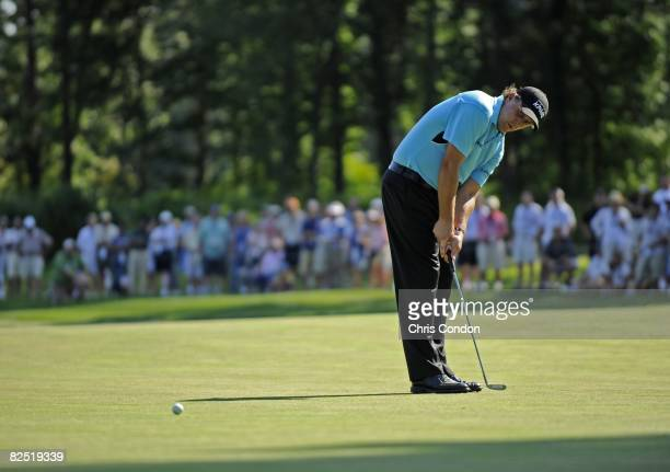 Phil Mickelson plays a shot during the second round of The Barclays held at the Ridgewood Country Club on August 22 2008 in Paramus New Jersey The...