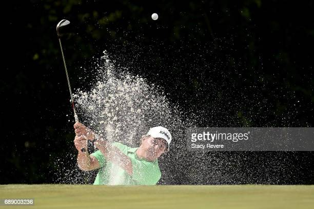 Phil Mickelson plays a shot from a bunker on the 11th hole during Round Two of the DEAN DELUCA Invitational at Colonial Country Club on May 27 2017...
