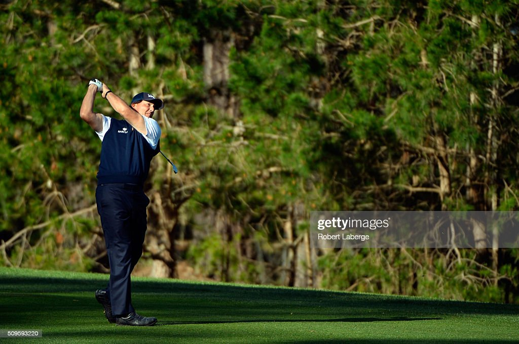 Phil Mickelson plays a shot from the fairway on the 11th hole during the first round of the AT&T Pebble Beach National Pro-Am at the Spyglass Hill Golf Course on February 11, 2016 in Pebble Beach, California.