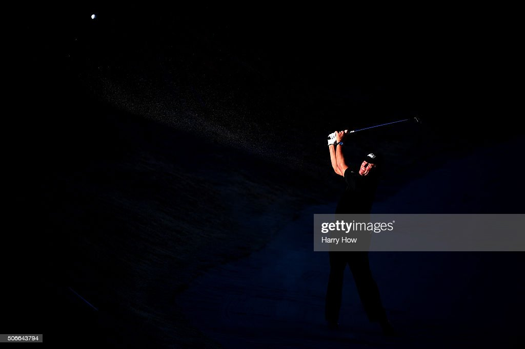 Phil Mickelson plays a shot out of the bunker on the 16th hole during the final round of the CareerBuilder Challenge In Partnership With The Clinton Foundation at the TPC Stadium course at PGA West on January 24, 2016 in La Quinta, California.