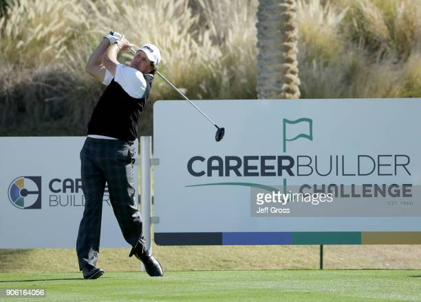 Phil Mickelson plays a tee shot on the 18th hole during practice for the CareerBuilder Challenge at the Jack Nicklaus Tournament Course at PGA West...