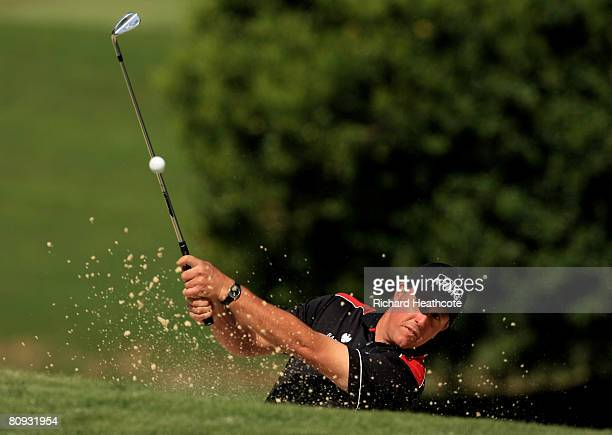 Phil Mickelson plays from a bunker during the pro-am for the Wachovia Championship at Quail Hollow Country Club on April 30, 2008 Charlotte, North...