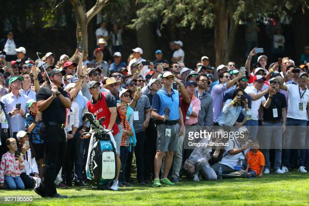 Phil Mickelson plays his second shot on the second hole during the final round of World Golf ChampionshipsMexico Championship at Club De Golf...