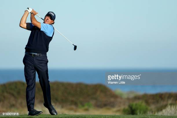 Phil Mickelson plays his shot from the 12th tee during Round Two of the ATT Pebble Beach ProAm at Monterey Peninsula Country Club on February 9 2018...
