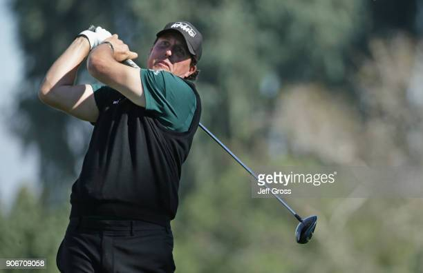 Phil Mickelson plays his shot from the 13th tee during the first round of the CareerBuilder Challenge at La Quinta Country Club on January 18 2018 in...