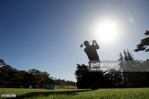 Phil Mickelson plays his shot from the fourth tee during the Final Round of the ATT Pebble Beach ProAm at Pebble Beach Golf Links on February 11 2018...
