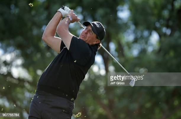 Phil Mickelson plays his shot from the sixth tee during the third round of the CareerBuilder Challenge at the TPC Stadium Course at PGA West on...