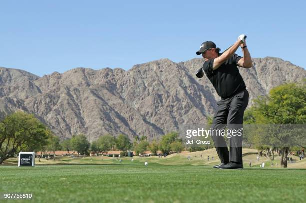 Phil Mickelson plays his shot from the third tee during the third round of the CareerBuilder Challenge at the TPC Stadium Course at PGA West on...