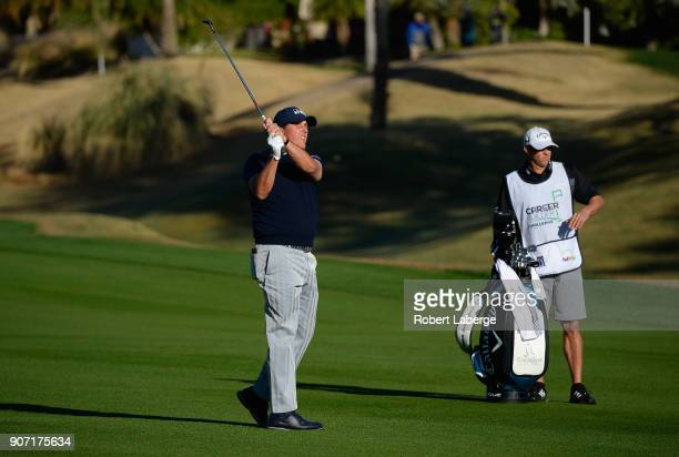 Phil Mickelson plays his shot on the 10th hole during the second round of the CareerBuilder Challenge at the Jack Nicklaus Tournament Course at PGA...