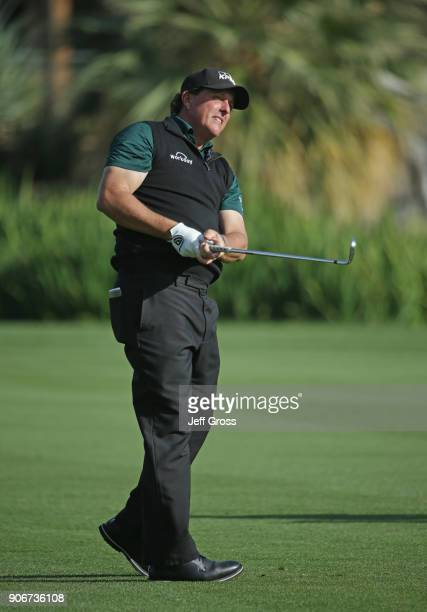 Phil Mickelson plays his shot on the ninth hole during the first round of the CareerBuilder Challenge at La Quinta Country Club on January 18 2018 in...