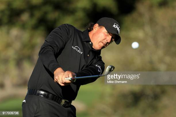 Phil Mickelson plays his shot on the second hole during the Final Round of the ATT Pebble Beach ProAm at Pebble Beach Golf Links on February 11 2018...