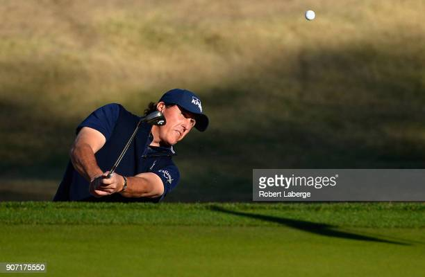 Phil Mickelson plays his shot out of the bunker on the 10th hole to make birdie during the second round of the CareerBuilder Challenge at the Jack...