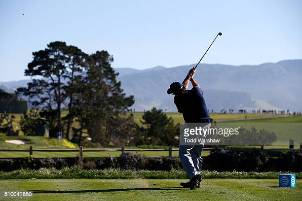 Phil Mickelson plays his tee shot on the fifth hole during round three of the ATT Pebble Beach National ProAm at the Pebble Beach Golf Links on...