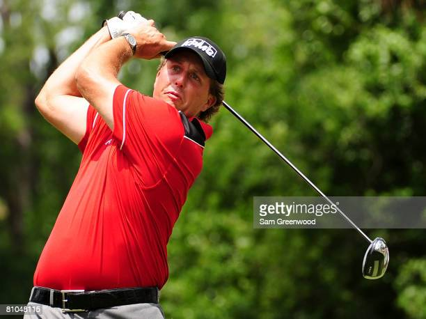 Phil Mickelson plays his tee shot on the second hole during the third round of THE PLAYERS Championship on THE PLAYERS Stadium Course at TPC Sawgrass...