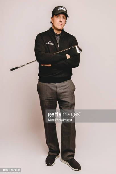 Phil Mickelson poses for a portrait for The Match Tiger vs Phil Exclusive Photo Shoot at Shadow Creek Golf Course on November 20 2018 in Las Vegas...