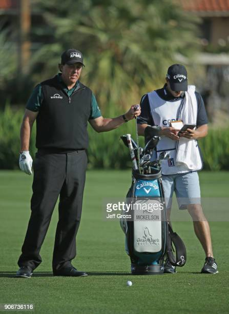 Phil Mickelson prepares to play his shot on the ninth hole during the first round of the CareerBuilder Challenge at La Quinta Country Club on January...