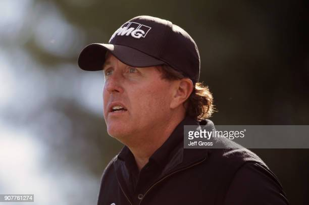 Phil Mickelson prepares to tee off on the sixth hole during the third round of the CareerBuilder Challenge at the TPC Stadium Course at PGA West on...