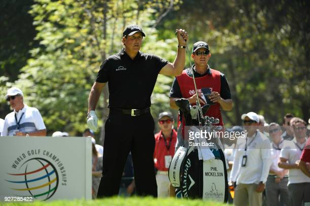 Phil Mickelson pulls club on seventh hole during the final round of the World Golf Championships-Mexico Championship at Club de Golf Chapultepec on...