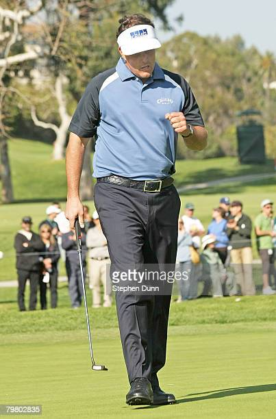 Phil Mickelson pumps his fist after saving par on the 15th hole during the third round of the Northern Trust Open on February 16 2008 at Riviera...