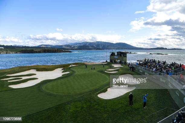 Phil Mickelson putts on the seventeenth hole green during the third round of the ATT Pebble Beach ProAm at Pebble Beach Golf Links on February 9 2019...