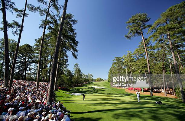 Phil Mickelson putts on the tenth green during the final round of The Masters at the Augusta National Golf Club on April 10 2005 in Augusta Georgia